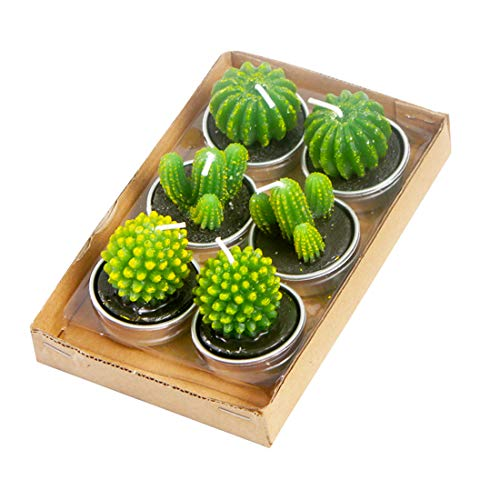 NANAOUS 6 Packs Mother's Day Specialty Cactus Tealight Candles,Handmade Delicate Candles for Home Candles, Birthday Party Wedding Natural Relaxing Candle Bath Spa Meditation Gift (NO.1)