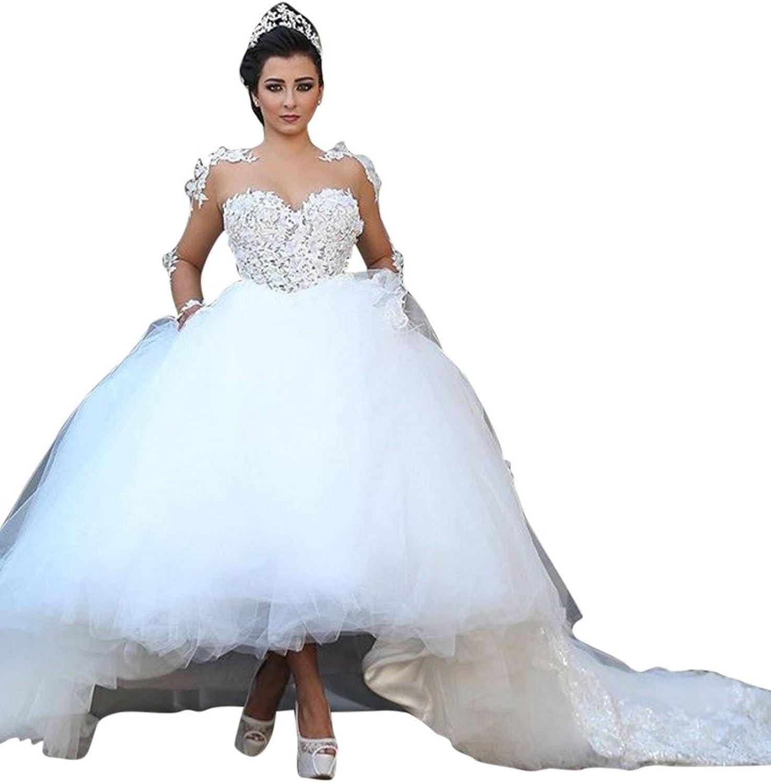 JoyVany Princess Long Wedding Dresses Sheer Neck Ball Gowns with Chapel Train