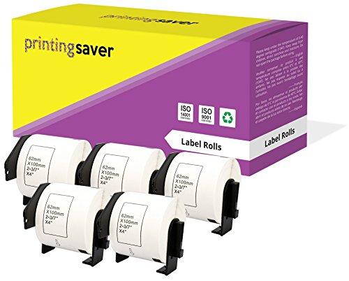 5 Rollen DK11202 DK-11202 62mm x 100mm Versand-Etiketten kompatibel für Brother P-Touch QL-500 QL-570 QL-700 QL-800 QL-810W QL-820NWB QL-1050 QL-1060N QL-1100 QL-1110NWB (300 Etiketten pro Rolle)