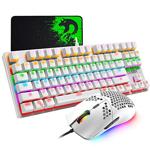 Wired Gaming Keyboard and Mouse Combo,87 Keys Compact Rainbow Backlit Keyboard,RGB Backlit 6400 DPI Lightweight Gaming Mouse with Honeycomb Shell for Windows PC Gamers