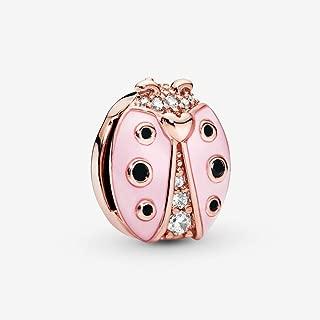 925 Sterling Silver Ladybug Bead for Pandora Charm Bracelet, Rose Reflexions Pink Ladybird Clip Stopper Lock Beads for European Bracelets