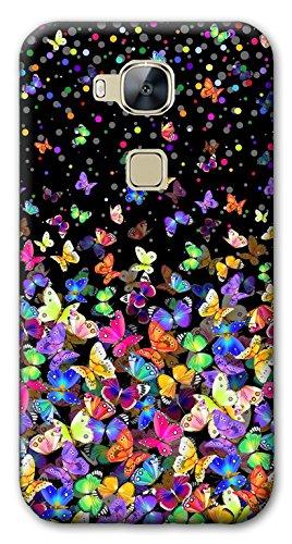 Mixroom - Cover Custodia Case in TPU Silicone Morbida per Huawei GT3 / Honor 5C M575 Farfalle Multicolore
