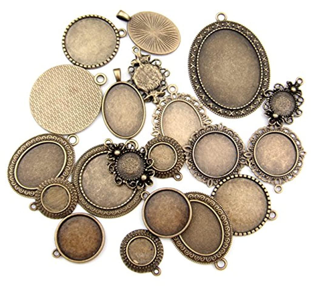 ALL in ONE 20pcs Mixed Cabochon Frame Setting Tray Pendant for DIY Jewelry Making (ANTIQUE BRONZE)