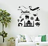 Diuangfoong Calcomanía de pared India Taj Mahal Journey Agencia de viajes Vinilo Pegatinas (ig3044)