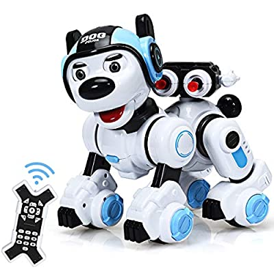 Costzon Remote Control Robotic Dog, Wireless Programmable Interactive Robot Puppy for Kids, Educational Electronic Pet Toys w/Singing, Dancing, Blinking, Shooting Function, Gift for Children (Blue)