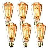 フィラメント LED電球 E26口金 (6W) 60W形相当 806LM エジソンランプ ST64 電球色2700K 茶色 シャンデリア用 レトロ電球 3年保証 調光器非対応 6個入