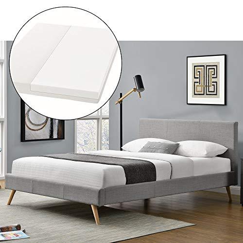 ArtLife Polsterbett Toledo 140 × 200 cm hellgrau   Bettgestell mit Kaltschaummatratze, Lattenrost & Stoff   Einzelbett Jugendbett Bett