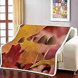 UTBDWOSX Mantas para Sofa Seta De Planta Amarilla 3D Mantas para Cama De Franela, Mantas Ligeras De 100% Microfibra - Fácil De Limpiar - Extra Suave Cálido 180 X 220 Cm