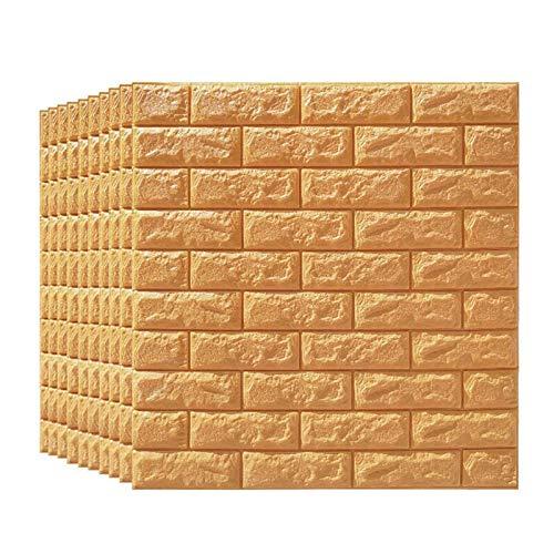KUNYI 3D Brick-Wand-Aufkleber PE-Schaum Selbstklebende Tapete abziehen und aufkleben 3D-Kunst-Wand-Platten for Wohnzimmer Schlafzimmer Hintergrund Wanddekoration, Braun (Size : 15 Pack)