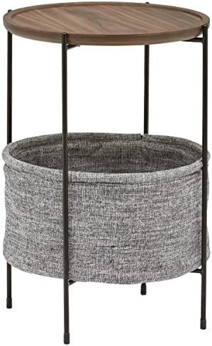 Best Amazon Brand – Rivet Meeks Round Side Table with Fabric Storage Basket, 24