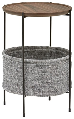Amazon Brand - Rivet Meeks Storage Basket End/Side Table, 42.4 x 59.9 x 42.4 cm, MDF with Walnut Veneer/Metal Frame/Grey Fabric