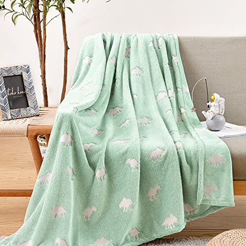 jinchan Flannel Throw Blanket Dinosaur Glow in The Dark Green Lightweight Fleece Throw Blankets for Nursery Couch Bed Decor Magical Blankets All Seasons Gift for Girls Boys Baby Kids 40x60 Inch