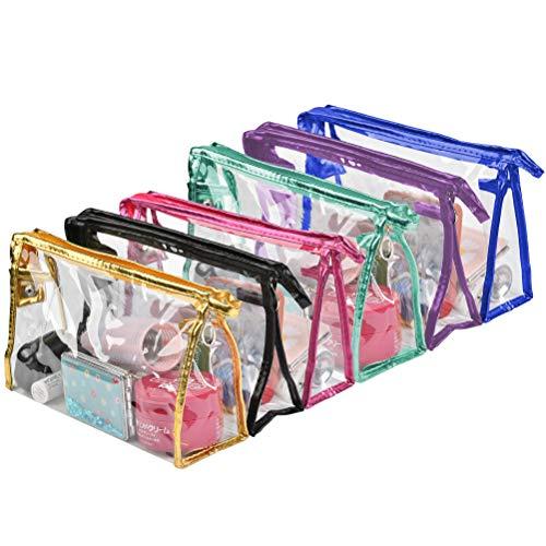 JAOMON 6 Bolsas Portátil Organizadoras de Maquillaje, Neceser de Viaje de Plástico Transparente, Estuche de Belleza, Bolsos Multicolores Prácticos de Moda, Bolsos de Mujer, Bolso Portátil