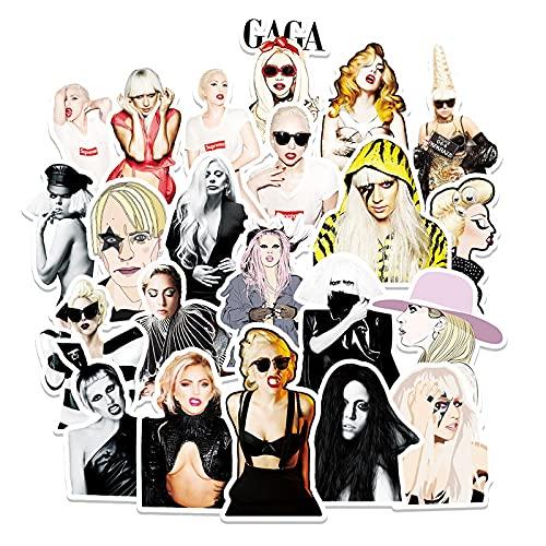 WYZNB Lot de 51 autocollants décoratifs Lady Gaga pour téléphone portable, voiture, réfrigérateur - Étanche - Amovible - Graffiti sexy actrice