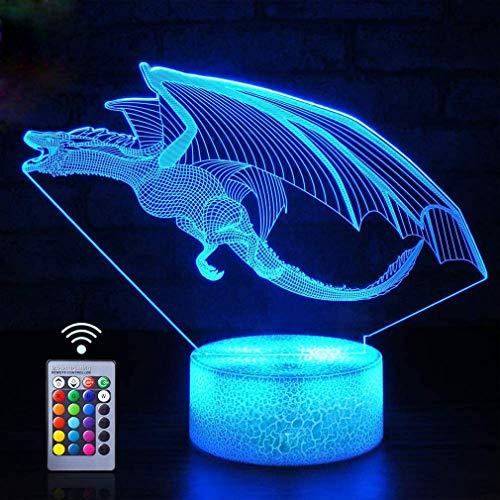 Creativo 3D Dinosaurio Luz Nocturna ilusión Optica Lámpara 7/16 Colores Cambiantes Control Remoto USB Alimentado Juguetes Decoración Navidad Cumpleaños Regalo