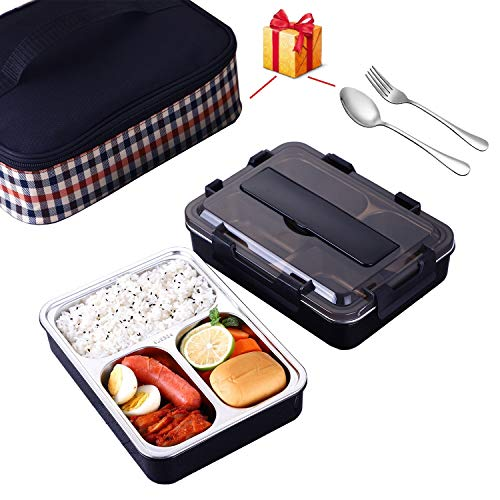 Qisiewell Auslaufsicher Brotdose aus Edelstahl Bento Box 1200ml Lunchbox mit Fächern, zum Wandern/Reisen/Schule Kinder und Erwachsene