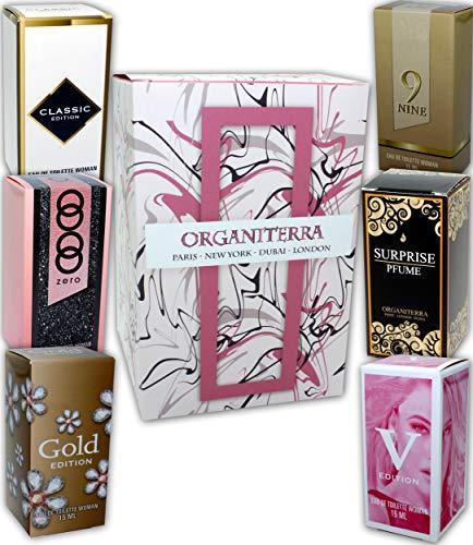Set mit 6 Parfums für Frauen (Eau de Toilette) Jeweils 15 ml. in einer Geschenkbox.