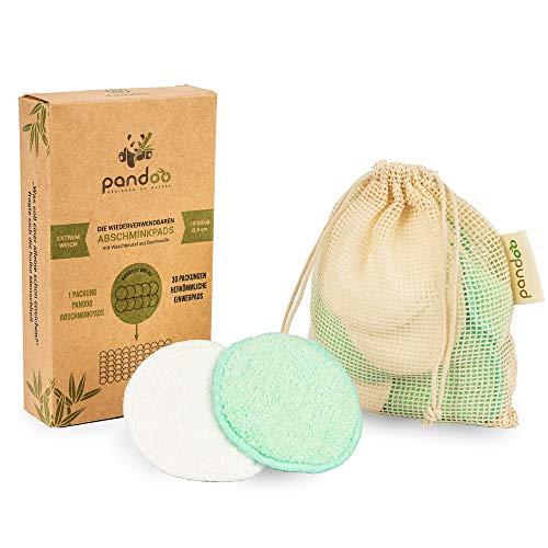 pandoo | Lot de 10 cotons démaquillants en bambou lavables | disque à démaquiller réutilisables | lingette démaquillante | écologique