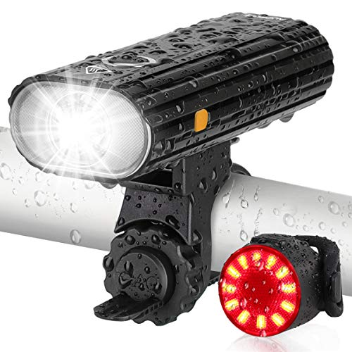 AUOPLUS Bike Lights with USB Rechargeable, Bike Front Lights Set Waterproof, Powerful Bicycle Front Headlight and Back Taillight, 5 Light Modes, Easy to Install for Men Women Kids Night Riding