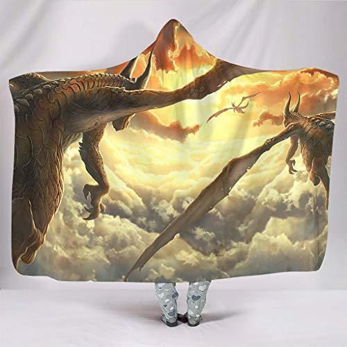 kikomia Manta con capucha, diseo de dragn, nubes y puesta de sol, color blanco, 150 x 200 cm