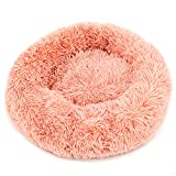 Fur & Bone Round Plush Cat Dog Bed, Calming Donut Cuddler Washable Pet Bed Super Soft and Fluffy Puppy Cushion Mat for Warm Sleeping (60 CM, Pink)
