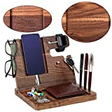 Gifts for Men - Engraved Ebony Wood Phone Docking Station - Nightstand with Key Holder, Wallet Stand and Watch Organizer - Perfect Gift to Boyfriend Husband Wife for Anniversary Birthday Christmas
