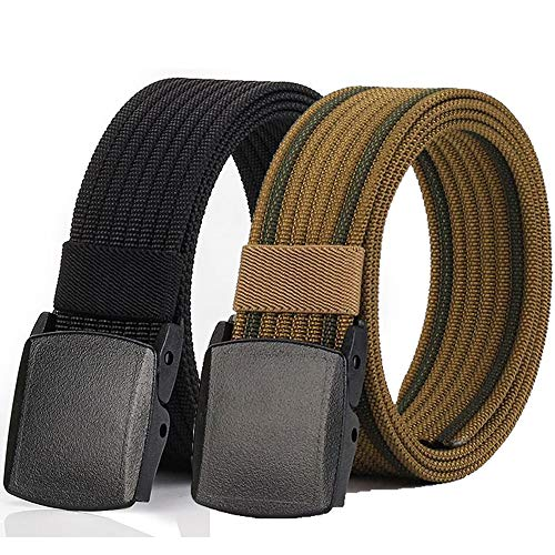 Hoanan Non-Metal Nylon Belt, Mens Casual Web Jeans Waist Belt Tactical Work Belt, Black + Coyote Brown
