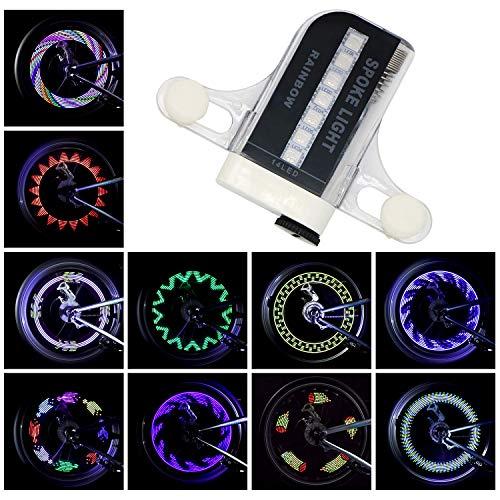 Yunjiadodo 1 Stück Fahrrad LED Speichenlicht 14 LED Wasserdichtes Fahrrad Felgenlicht 30 Muster Sicherheitsreifenleuchten für Kinder Fahrrad