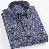 Camisa De Vestir Oxford Cepillada Sólida De Manga Larga De Primera Calidad para Hombre Camisas con Bordado De...