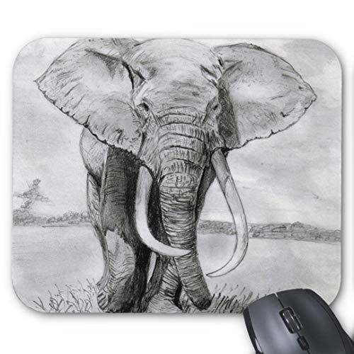 Mauspad mit seidenweicher Textiloberfl?che - Mouse Pad Paradise (antistatische Wirkung - perfekte Gleiteigenschaft PC / Computer Mousepad)-afrikanischer elefant zeichnen in bleistift design