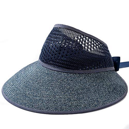 Sombrero de Paja Plegable para Mujer, Sombrero de Verano, Sombreros de pPaja con ala Ancha, Lazo para Sombrero de Paja Ajustable 55-62cm