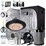 BloomGrow 600W Full Spetrum UFO LED Grow Light + 36''x36''x72'' Grow Tent + 6'' Fan Filter Duct Combo + Hangers + Hygrometer + Shears + 24-Hour Timer + Trellis Netting Indoor Grow Tent Complete Kit