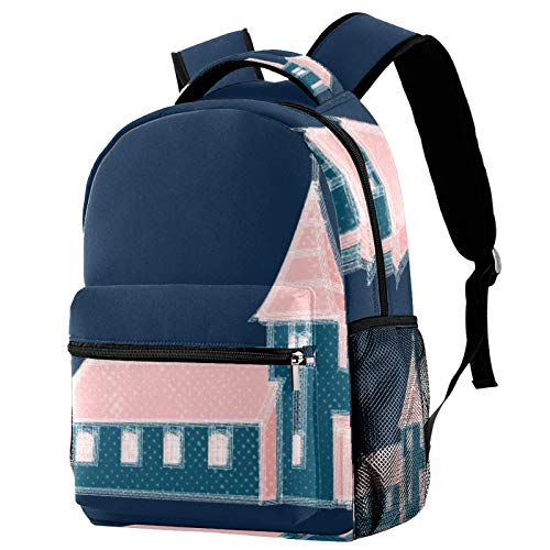 Small Lighthouse Travel Laptop Backpack, Casual Durable Backpack Daypacks for Men Women for Work Office College Students Business Travel Schoolbag Bookbag