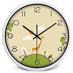 Quartz Cartoon Children Wall Clock Kids Room Cute Living Room Needle Large Cartoon Home,White Frame,14 Inch