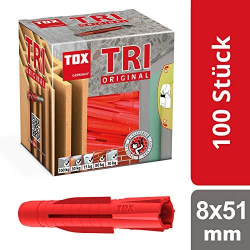 TOX Allzweckdübel Tri 8 x 51 mm, Dübel für fast alle Baustoffe, 100 Stück, 010100111