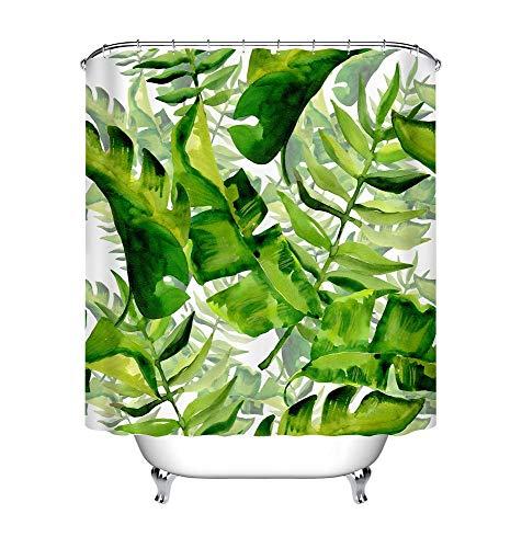 LB Cortina de Ducha de Hojas Tropicales con Ganchos,150W * 180H CM Acuarela Hawaii Selva Árbol Cortinas de baño Blanco Palm Verde Tejido de poliéster Anti-Moho Resistente al Agua