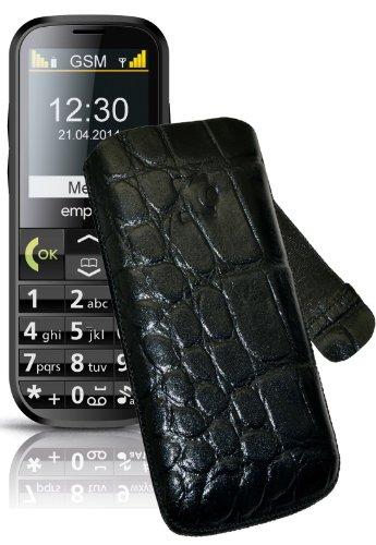 Original Suncase Tasche für / Emporia C160 emporiaECO / Leder Etui Handytasche Ledertasche Schutzhülle Hülle Hülle Lasche mit Rückzugfunktion* In Croco-Schwarz
