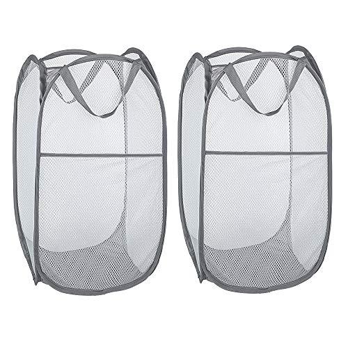 WD&CD 2PCS Laundry Baskets Foldable Pop Up Mesh Washing Laundry Basket Bag Bin Hamper Toy Tidy Storage Organiser Organizer(Gray)