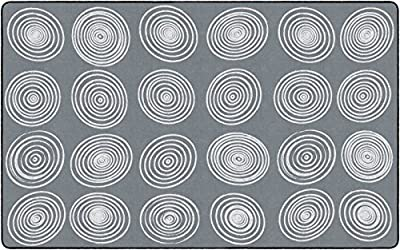 """Flagship Carpets Circles Abstract Children's Classroom Area Rug for Kids Room Seating Décor, Play Carpet for Teaching and Playing, Seats 24, 7'6""""x12', White & Grey"""