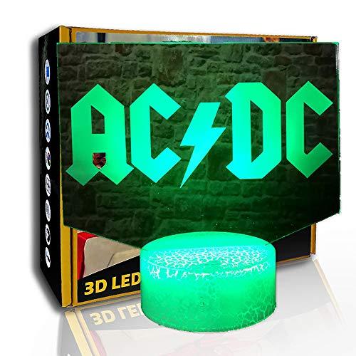 JINYI Rock Band Music Logo 3D Illusion Luz nocturna, lámpara LED para niños, F- Base de audio Bluetooth (5 colores), Decoración moderna, Niño Lámpara