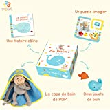 Box 1, 2, 3 POPI - Au Bain ! Activités d'éveil Bébé, Coffret 4 Jeux dès la Naissance, Jouets de Bain, Livre-Puzzle