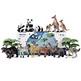 iBaseToy Zoo Animals Toy Jungle Animals, Toddlers Wild Animal Figures Set, Free Standing Realistic Animal Toys for Kids, Perfect for Birthday Party Favors, Classroom Rewards and Easter Gift