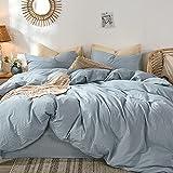 MooMee Bettwäsche-Set, 100 prozent gewaschene Baumwolle, Leinenähnlich, strukturiert, atmungsaktiv, langlebig, weich, bequem, Kornblumenblau, für Doppelbetten