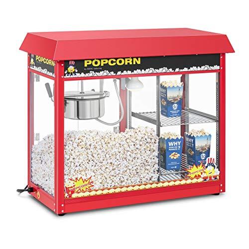Royal Catering Machine à Popcorn Compartiment chauffant Rouge RCPC-16E (1.700W, rendement horaire 5 kg/h, 16 L/h, diamètre de la cuve en haut 18,5 cm, récipient téflon)