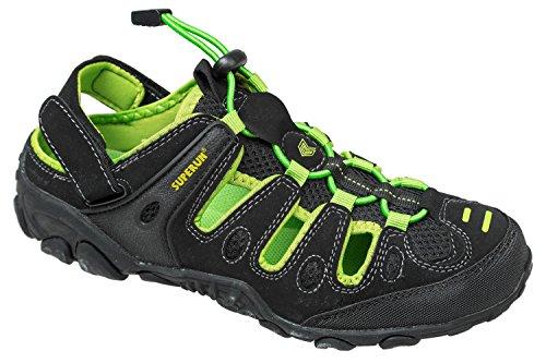 gibra® Herren Trekkingsandalen, mit Klettverschluss, schwarz/Neongelb, Gr. 45