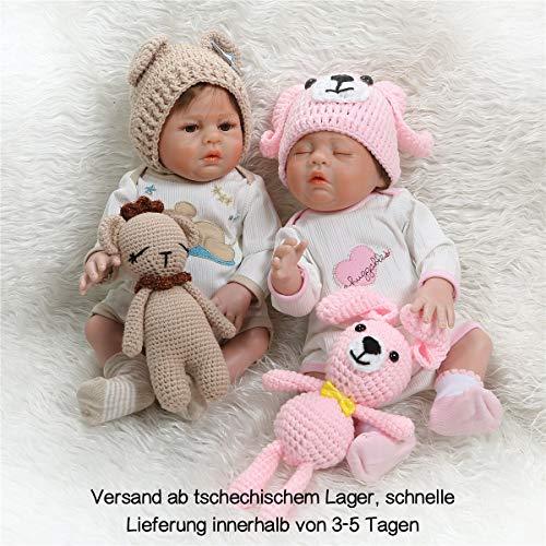 Zero Pam Reborn Babies Zwillinge 20-Zoll-Jungen- Und Mädchenpuppen Ganzkörper-Silikon-Vinyl-Reborn-Babypuppe Lebensechte Baby-Neugeborenenpuppe Für Mädchen