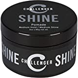 Challenger Men's Shine Pomade, 3 Ounce | Medium Shine, Clean & Subtle Scent | Medium Hold | Best Styling Product | Travel Friendly. Easy Rinse, Water Based Hair Styling Product