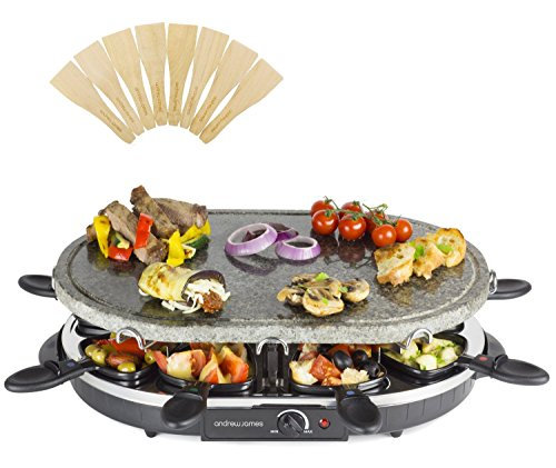 Andrew James Electric Raclette Hotplate Party Grill Machine   Oval Stone Hot Plate   8 Fondue Cheese Pans and Wooden Spatulas Set   Great for Indoor Table Top Use   1200W   Thermostat Control