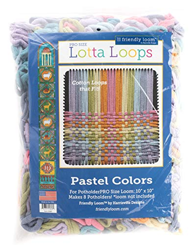 Harrisville Designs Lotta Loops 10 Pro Size Pastel Cotton Loops Makes 8 Potholders, Weaving, Crafts For Kids and Adults-Assorted Colors