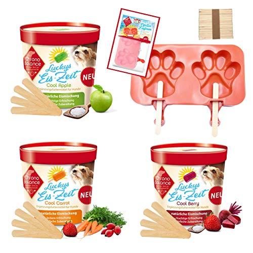 ChronoBalance® EIS für Hunde, Abkühlung für Hunde, Elektrolyte für Hunde, Hundeeis als Snack im Sommer, auch für Katzen geeignet - Verschiedene Geschmacksrichtungen (3 Sorten + Eisform)